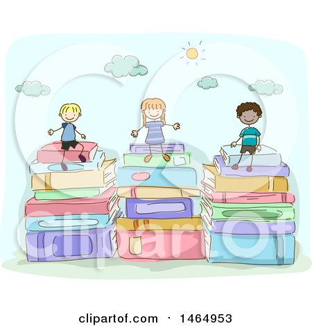 Clipart of a Sketched Group of School Children Sitting on Stacked Books - Royalty Free Vector Illustration by BNP Design Studio