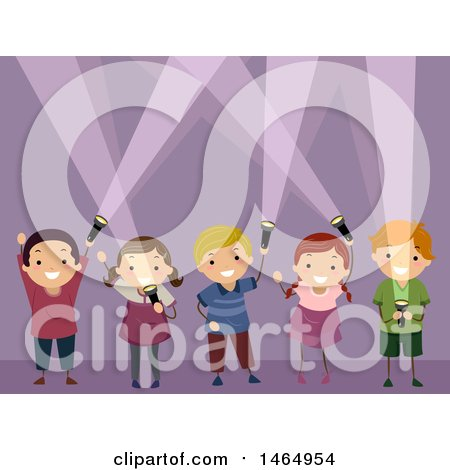 Clipart of a Group of Children Playing with Flashlights - Royalty Free Vector Illustration by BNP Design Studio