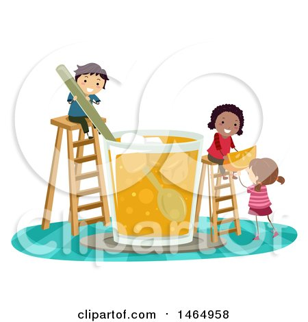 Clipart of a Group of Children Making a Giant Glass of Orange Juice - Royalty Free Vector Illustration by BNP Design Studio