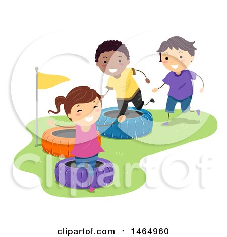 Clipart of a Group of Children Playing in a Tire Obstacle Course - Royalty Free Vector Illustration by BNP Design Studio