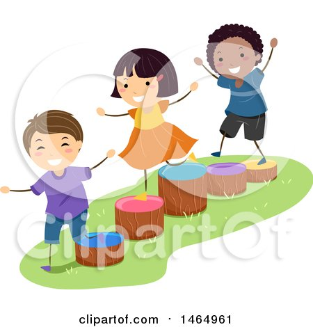 Group of Children Playing on Wood Stump Ladders Posters, Art Prints