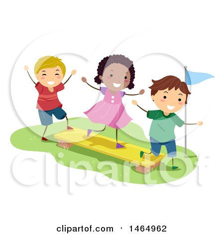 Group of Children Playing on a Balance Plank Posters, Art Prints