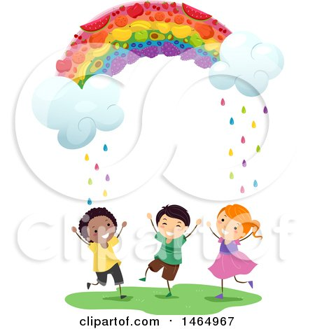 Clipart of a Fruity Rainbow Raining down on a Group of Children - Royalty Free Vector Illustration by BNP Design Studio