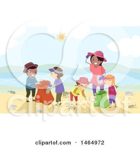 Clipart of a Group of Children and a Woman Cleaning up a Beach - Royalty Free Vector Illustration by BNP Design Studio