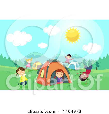 Clipart of a Group of Children Playing at a Campground - Royalty Free Vector Illustration by BNP Design Studio