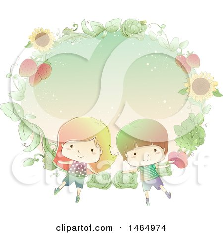 Clipart of a Sketched Boy and Girl in a Fram of Sunflowers, Cabbage and Strawberries - Royalty Free Vector Illustration by BNP Design Studio