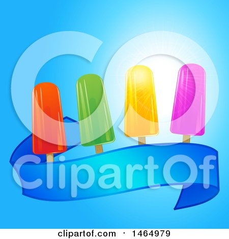 Clipart of a Blue Ribbon Banner with Colorful Ice Lollies over Blue Sky - Royalty Free Vector Illustration by elaineitalia