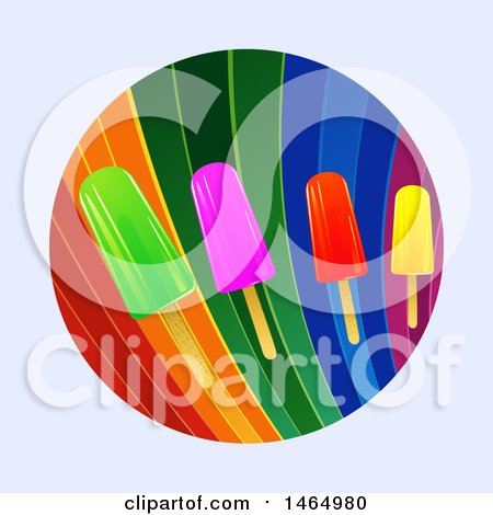 Clipart of a Rainbow Circle with Colorful Ice Lollies, over a Light Gray Background - Royalty Free Vector Illustration by elaineitalia