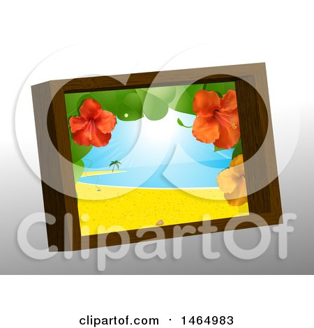 Clipart of a 3d Wooden Picture Frame with a Hibiscus and Tropical Beach Scene, on Gray - Royalty Free Vector Illustration by elaineitalia