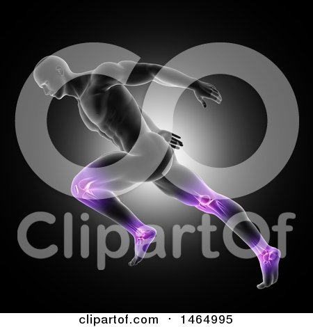 Clipart of a 3d Anatomical Man Running with Purple Glowing Knee and Ankle Joints, on Black - Royalty Free Illustration by KJ Pargeter