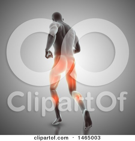 Clipart of a 3d Man Running with Visible Glowing Muscles Used, on Gray - Royalty Free Illustration by KJ Pargeter