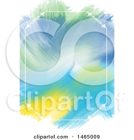 Clipart of a White Fframe and Watercolor Strokes Background - Royalty Free Vector Illustration by KJ Pargeter