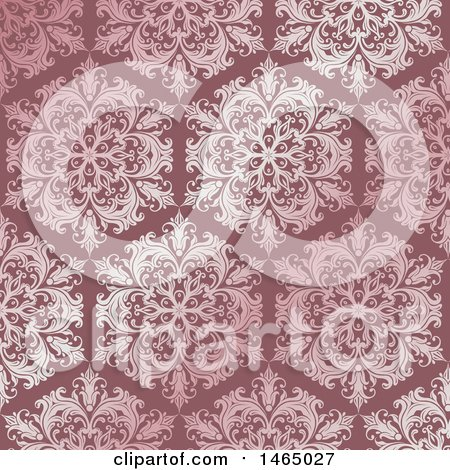 Clipart of a Beautiful Pink Ornate Floral Damask Pattern - Royalty Free Vector Illustration by KJ Pargeter