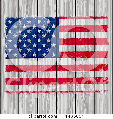 Clipart of a Painted American Flag on White Wood - Royalty Free Illustration by KJ Pargeter