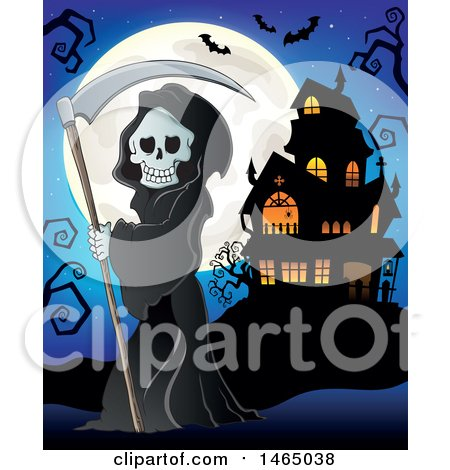Clipart of a Grim Reaper Holding a Scythe Against a Full Moon near a Haunted House - Royalty Free Vector Illustration by visekart