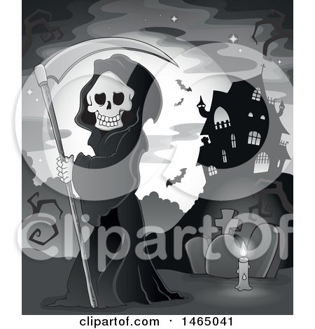 Clipart of a Grim Reaper Holding a Scythe in a Cemetery near a Haunted House - Royalty Free Vector Illustration by visekart