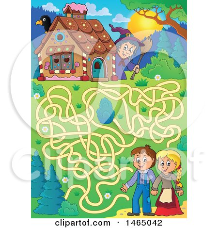 Clipart of a Maze of a Witch Watching a Brother and Sister, Hanzel and Gretel near the Gingerbread House - Royalty Free Vector Illustration by visekart