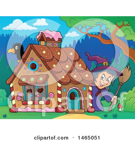 Clipart of a Crow and Witch at a Gingerbread House in the Woods, Hansel and Gretel - Royalty Free Vector Illustration by visekart