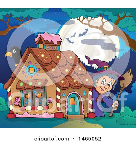 Clipart of a Crow and Witch at a Gingerbread House at Night, Hansel and Gretel - Royalty Free Vector Illustration by visekart