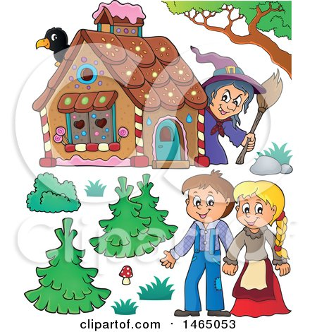 Clipart of a Witch Watching a Brother and Sister, Hansel and Gretel near the Gingerbread House - Royalty Free Vector Illustration by visekart