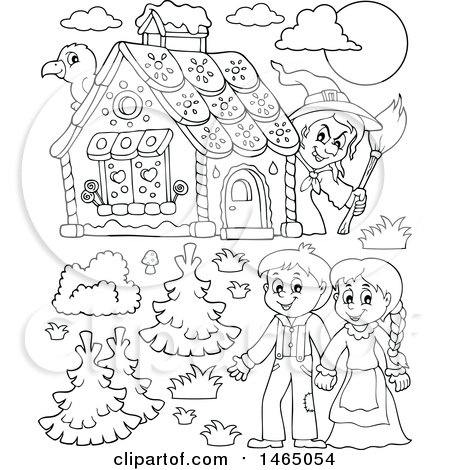 Clipart of a Black and White Witch Watching a Brother and Sister, Hansel and Gretel near the Gingerbread House - Royalty Free Vector Illustration by visekart