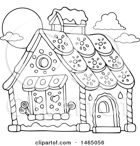 Clipart of a Black and White Hansel and Gretel Gingerbread House - Royalty Free Vector Illustration by visekart