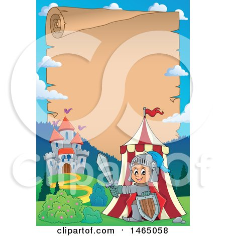 Clipart of a Parchment Scroll Page of a Knight Emerging from a Tent near a Castle - Royalty Free Vector Illustration by visekart