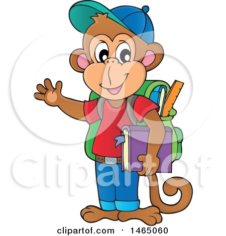 Clipart of a Monkey Student Waving - Royalty Free Vector Illustration by visekart