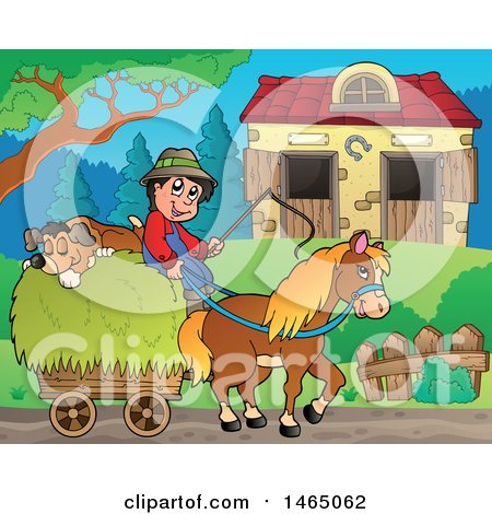 Clipart of a Boy and Dog on a Horse Cart near a Barn - Royalty Free Vector Illustration by visekart