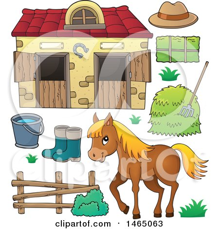 Clipart of a Horse near a Barn - Royalty Free Vector Illustration by visekart