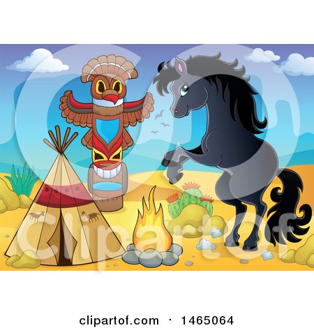 Clipart of a Rearing Horse by a Native American Desert Camp - Royalty Free Vector Illustration by visekart