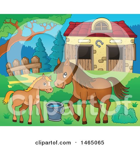 Clipart of a Foal and Horse near a Barn - Royalty Free Vector Illustration by visekart