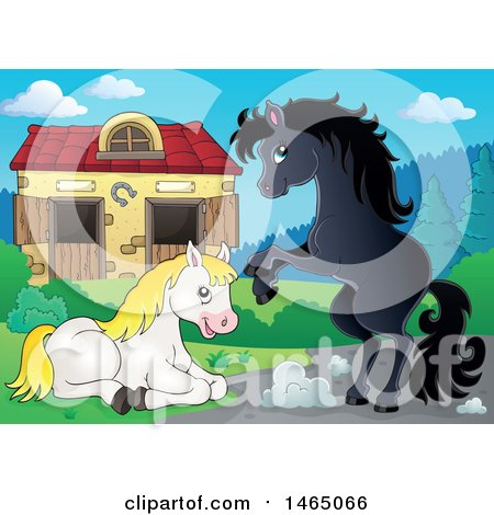 Clipart of Horses near a Barn - Royalty Free Vector Illustration by visekart