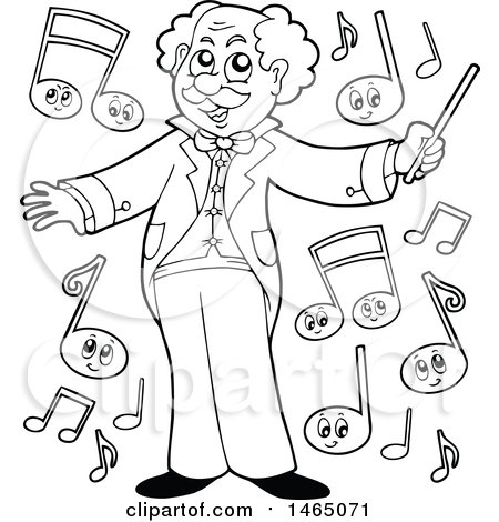 Clipart of a Black and White Music Conductor Maestro with Notes - Royalty Free Vector Illustration by visekart