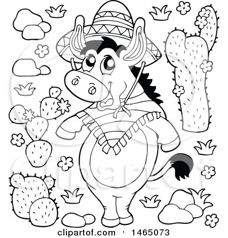 Clipart of a Black and White Mexican Donkey and Cactus Plants - Royalty Free Vector Illustration by visekart