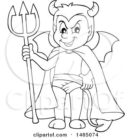 Clipart of a Black and White Devil - Royalty Free Vector Illustration by visekart