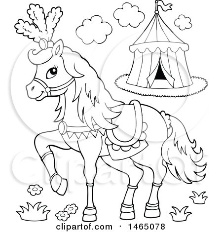 Clipart of a Black and White Fancy Circus Horse Prancing - Royalty Free Vector Illustration by visekart