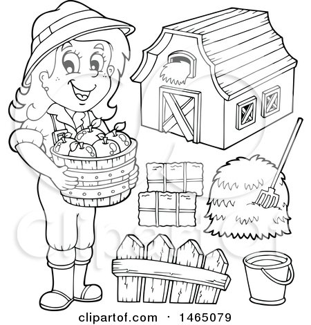 Clipart Of A Black And White Female Farmer With A Barn Hay Bushel