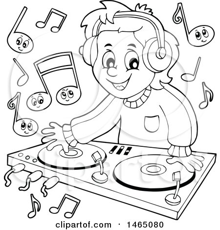 Clipart of a Black and White Male Dj Wearing Headphones and Mixing Records - Royalty Free Vector Illustration by visekart