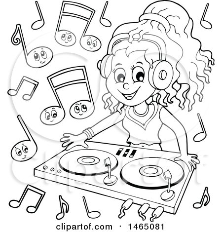 Clipart of a Black and White Female Dj Wearing Headphones and Mixing Records - Royalty Free Vector Illustration by visekart