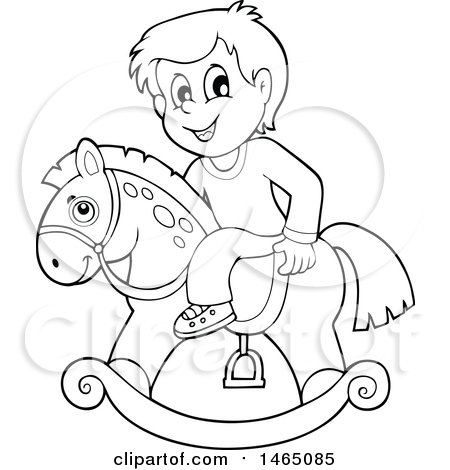 Clipart Of A Black And White Boy On A Rocking Horse