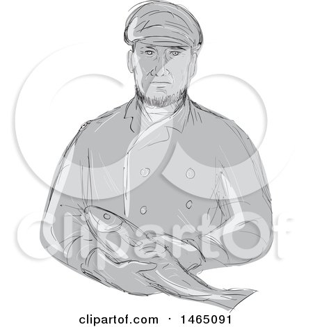 Clipart of a Sketched Grayscale Retro Fishmonger Holding a Fish - Royalty Free Vector Illustration by patrimonio