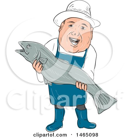 Clipart of a Sketched Male Fishmonger Holdinga Large Fish - Royalty Free Vector Illustration by patrimonio