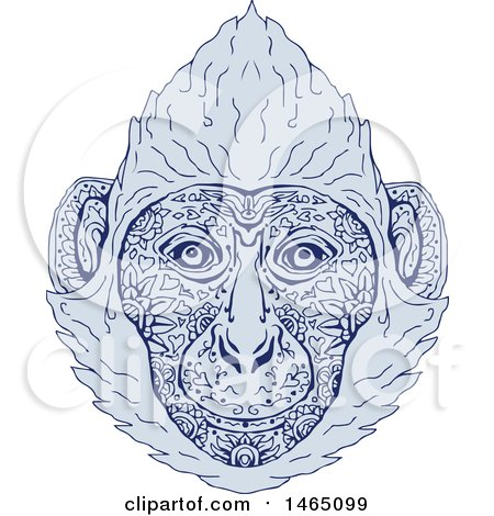 Clipart of a Cat Ba Langur Face in Blue Mandala Sketch Style - Royalty Free Vector Illustration by patrimonio