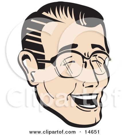 Happy Man Wearing Glasses And Laughing Retro Clipart Illustration by Andy Nortnik