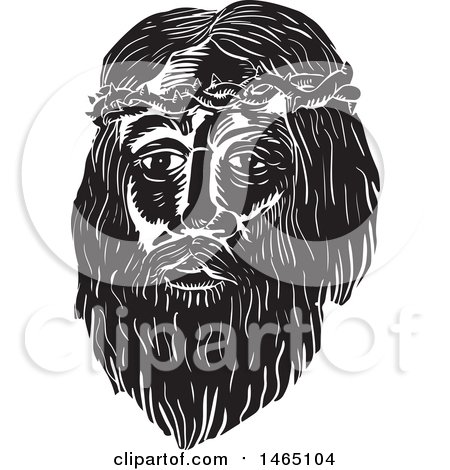 Clipart of the Face of Jesus Christ with Thorns, in Black and White Woodcut Style - Royalty Free Vector Illustration by patrimonio