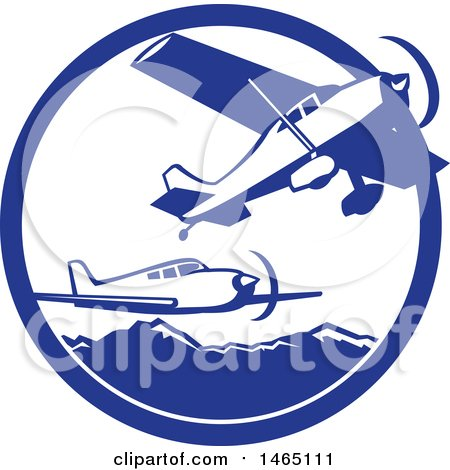 Clipart of Retro Airplanes over Mountains in a Blue and White Circle - Royalty Free Vector Illustration by patrimonio