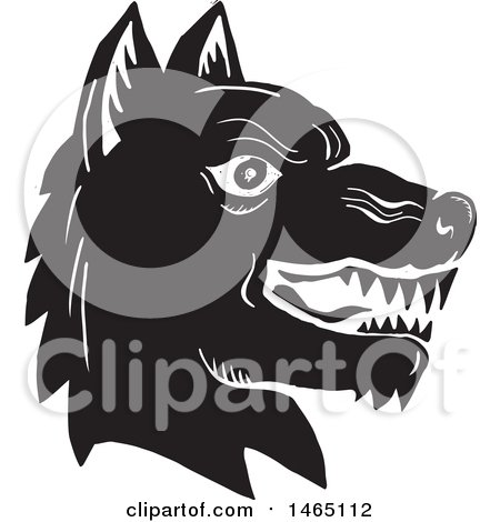 Clipart of a Profiled Angry Wolf Head, Black and White Woodcut Style - Royalty Free Vector Illustration by patrimonio