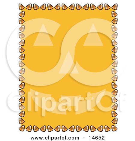 Orange Background With A Jack O Lantern Face And A Border Of Candy Corn Clipart Illustration