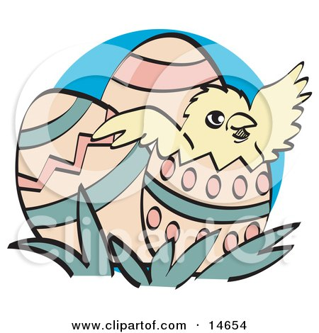 Cute Baby Chick Hatching Out Of A Decorated Easter Egg Clipart Illustration by Andy Nortnik